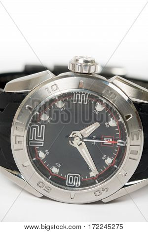 Wrist Sports Watch Close Up Macro Isolated Over White