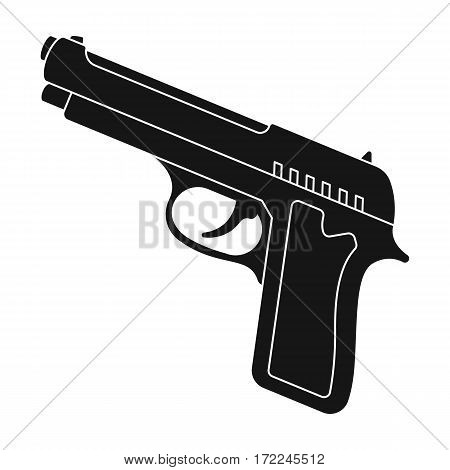 Handgun icon in black design isolated on white background. Police symbol stock vector illustration.