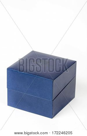 Blue square box isolated over white background.