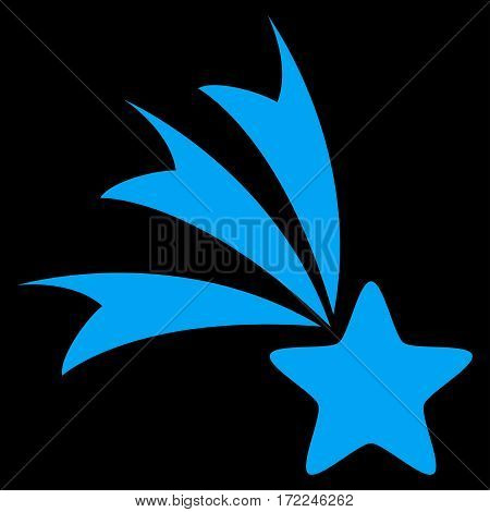 Falling Star flat icon. Vector blue symbol. Pictograph is isolated on a black background. Trendy flat style illustration for web site design logo ads apps user interface.
