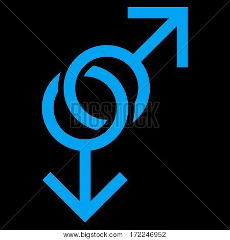 Gay Love Symbol flat icon. Vector blue symbol. Pictogram is isolated on a black background. Trendy flat style illustration for web site design logo ads apps user interface.