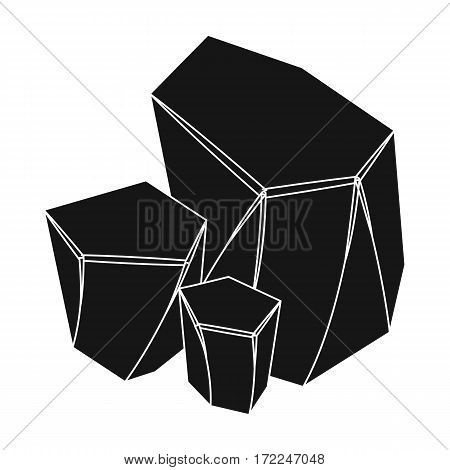 Light green rough gemstone icon in black design isolated on white background. Precious minerals and jeweler symbol stock vector illustration.