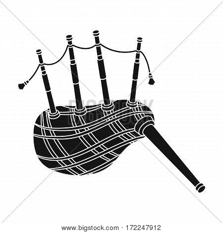 Scottish bagpipes icon in black design isolated on white background. Scotland country symbol stock vector illustration.