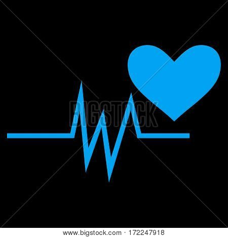 Heart Pulse Signal flat icon. Vector blue symbol. Pictograph is isolated on a black background. Trendy flat style illustration for web site design logo ads apps user interface.