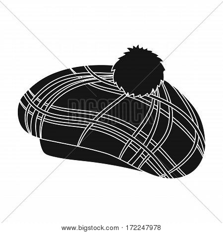 Scottish traditional cap icon in black design isolated on white background. Scotland country symbol stock vector illustration.
