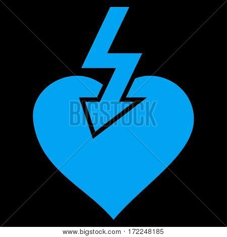 Heart Shock Strike flat icon. Vector blue symbol. Pictograph is isolated on a black background. Trendy flat style illustration for web site design logo ads apps user interface.