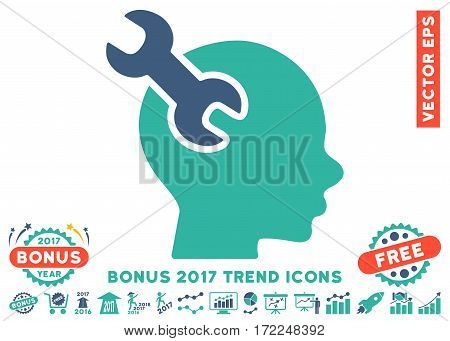 Cobalt And Cyan Brain Service Wrench icon with bonus 2017 trend design elements. Vector illustration style is flat iconic bicolor symbols white background.