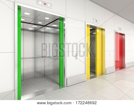 elevator semaphore colors 3d rendering image