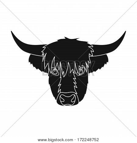 Highland cattle head icon in black design isolated on white background. Scotland country symbol stock vector illustration.