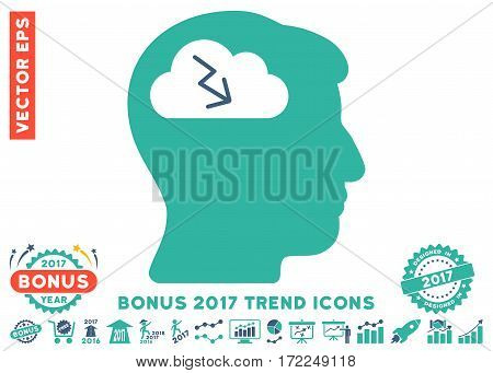 Cobalt And Cyan Brainstorming icon with bonus 2017 year trend pictograms. Vector illustration style is flat iconic bicolor symbols white background.