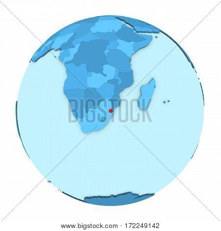 Swaziland On Globe Isolated