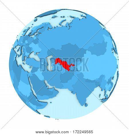 Uzbekistan On Globe Isolated