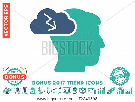 Cobalt And Cyan Brainstorming pictograph with bonus 2017 year trend clip art. Vector illustration style is flat iconic bicolor symbols white background.