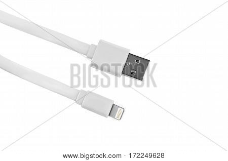 White usb-cable for iphone isolated on white background