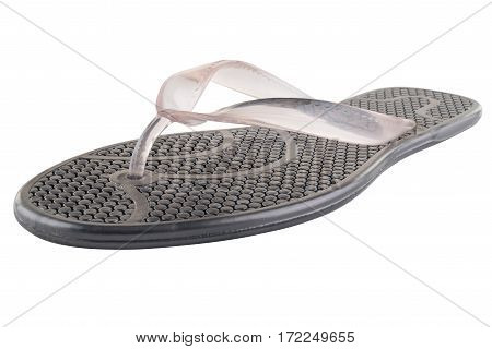 Black Rubber flip-flops isolated on white background