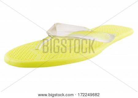 Yellow Rubber flip-flops isolated on white background