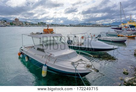 Boats In The Port Of Aegina, Greece.