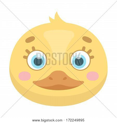 Duck muzzle icon in cartoon design isolated on white background. Animal muzzle symbol stock vector illustration.