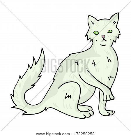 British Semi-longhair icon in cartoon design isolated on white background. Cat breeds symbol stock vector illustration.