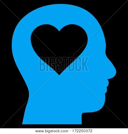 Love In Head flat icon. Vector blue symbol. Pictogram is isolated on a black background. Trendy flat style illustration for web site design logo ads apps user interface.