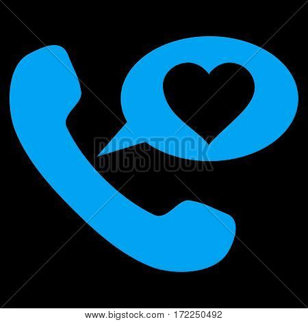 Love Phone Message flat icon. Vector blue symbol. Pictograph is isolated on a black background. Trendy flat style illustration for web site design logo ads apps user interface.
