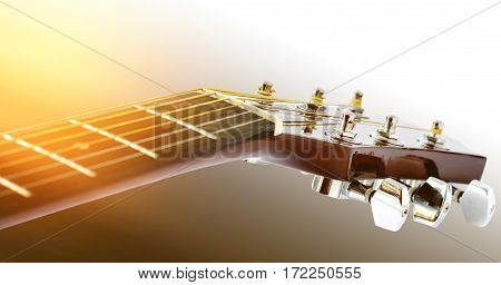 Detail of acoustic guitar with shallow depth of field. Head stock close up.