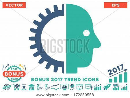Cobalt And Cyan Cyborg Head icon with bonus 2017 trend design elements. Vector illustration style is flat iconic bicolor symbols white background.