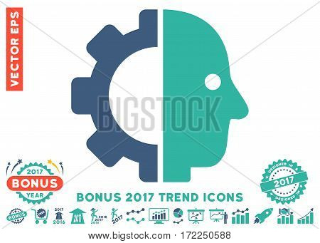Cobalt And Cyan Cyborg Head icon with bonus 2017 trend icon set. Vector illustration style is flat iconic bicolor symbols white background.