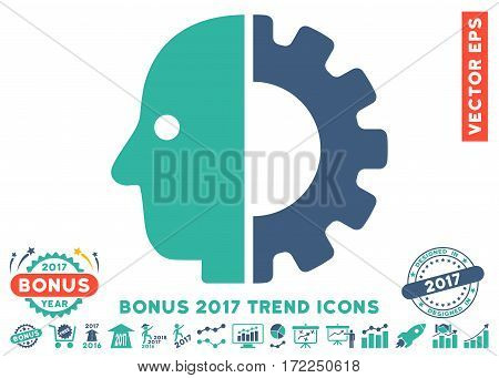Cobalt And Cyan Cyborg Head pictograph with bonus 2017 trend symbols. Vector illustration style is flat iconic bicolor symbols white background.