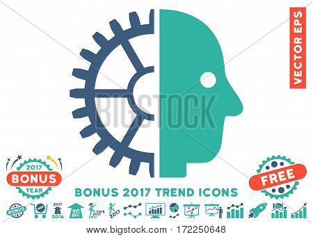 Cobalt And Cyan Cyborg Head pictograph with bonus 2017 trend elements. Vector illustration style is flat iconic bicolor symbols white background.