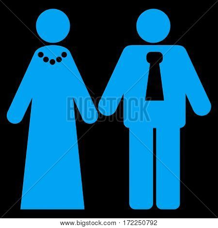 Newlyweds flat icon. Vector blue symbol. Pictogram is isolated on a black background. Trendy flat style illustration for web site design logo ads apps user interface.