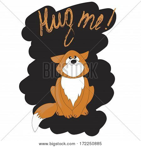 Cute cartoon cat asking for a hug. Vector Illustration
