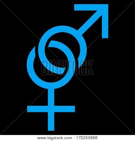 Sex Symbol flat icon. Vector blue symbol. Pictogram is isolated on a black background. Trendy flat style illustration for web site design logo ads apps user interface.