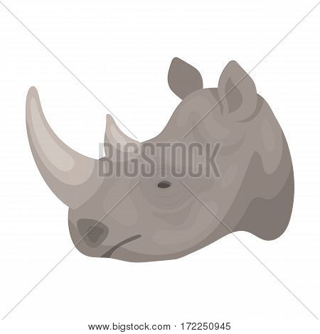 Rhinoceros icon in cartoon design isolated on white background. Realistic animals symbol stock vector illustration.