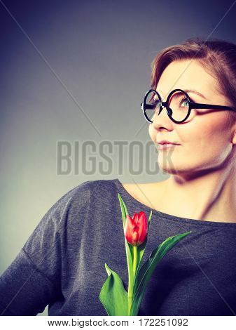Girl With Tulip Full Of Hope Dreaming.