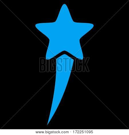 Starting Star flat icon. Vector blue symbol. Pictograph is isolated on a black background. Trendy flat style illustration for web site design logo ads apps user interface.
