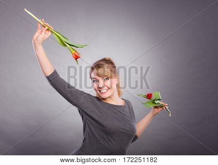 Attractive Lady Dancing With Flowers.