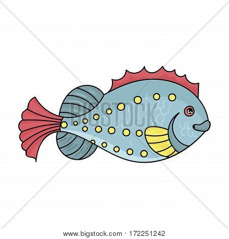 Sea fish icon in cartoon design isolated on white background. Sea animals symbol stock vector illustration.