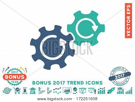 Cobalt And Cyan Gears Rotation pictogram with bonus 2017 trend symbols. Vector illustration style is flat iconic bicolor symbols white background.