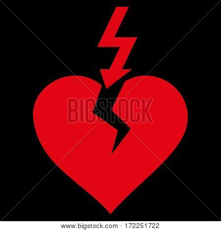 Break Heart flat icon. Vector red symbol. Pictograph is isolated on a black background. Trendy flat style illustration for web site design logo ads apps user interface.