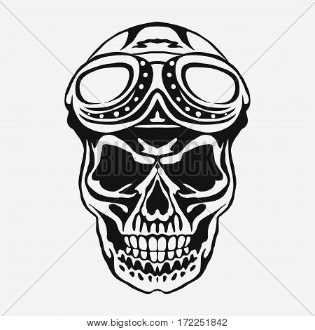 Skull rider in helmet with goggles. Motorcycle graphic print, Retro Motorbike Skull-Biker Badge. vector