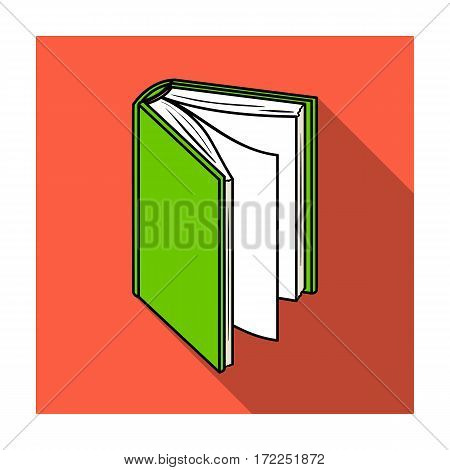 Black standing book icon in flat design isolated on white background. Books symbol stock vector illustration.