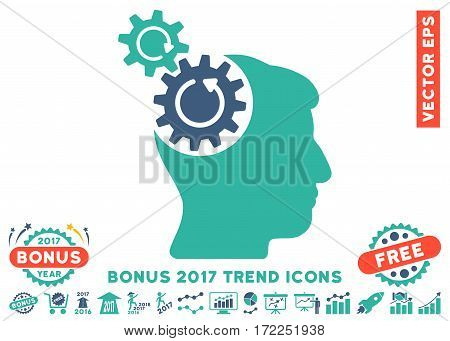 Cobalt And Cyan Head Cogs Rotation pictograph with bonus 2017 year trend pictograph collection. Vector illustration style is flat iconic bicolor symbols white background.