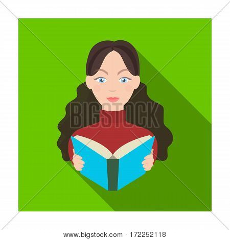 Librarian icon in flat design isolated on white background. Library and bookstore symbol stock vector illustration.