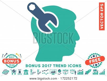 Cobalt And Cyan Head Neurology Wrench pictograph with bonus 2017 year trend icon set. Vector illustration style is flat iconic bicolor symbols white background.