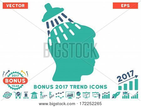 Cobalt And Cyan Head Shower pictograph with bonus 2017 trend pictograph collection. Vector illustration style is flat iconic bicolor symbols white background.