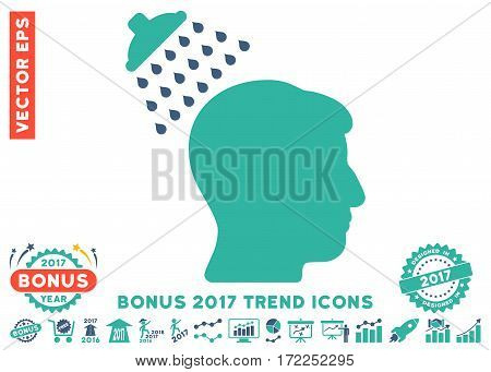 Cobalt And Cyan Head Shower pictograph with bonus 2017 year trend elements. Vector illustration style is flat iconic bicolor symbols white background.