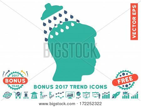 Cobalt And Cyan Head Shower pictograph with bonus 2017 year trend symbols. Vector illustration style is flat iconic bicolor symbols white background.