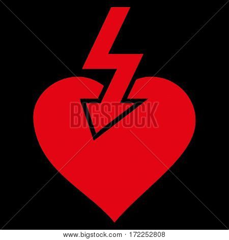 Heart Shock Strike flat icon. Vector red symbol. Pictogram is isolated on a black background. Trendy flat style illustration for web site design logo ads apps user interface.