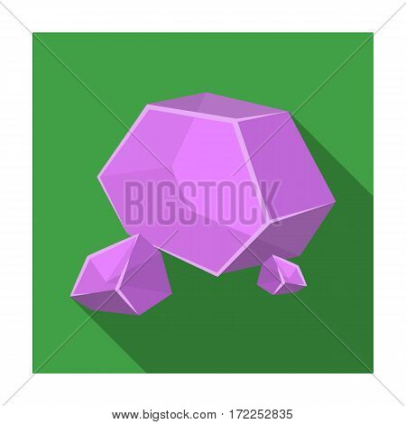 Purple rough gemstone icon in flat design isolated on white background. Precious minerals and jeweler symbol stock vector illustration.